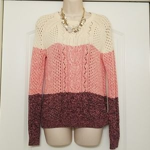 Forever 21 Chunky Color Block Sweater SZ S